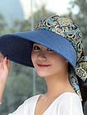 billige Hatter til damer-Dame søt stil Solhatt Blomstermønster Polyester Sommer Grå Lilla Kakifarget