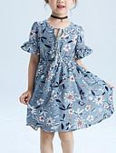 お買い得  女児 ドレス-子供 女の子 活発的 / ストリートファッション フラワー ラッフル / プリント 半袖 ポリエステル ドレス グレー