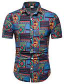 """זול חולצות לגברים-קולור בלוק / גראפי / שבטי צווארון קלאסי פאנק & גותיות מועדונים האיחוד האירופי / ארה""""ב גודל חולצה - בגדי ריקוד גברים דפוס פול / שרוולים קצרים"""