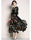 Χαμηλού Κόστους Γυναικεία Φορέματα-Γυναικεία Κομψό Swing Φόρεμα - Φλοράλ, Peplum Patchwork Μίντι