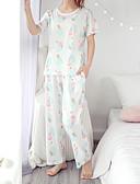hesapli Pijamalar-Yuvarlak Yaka Takımlar Pijamalar Pötikare Kadın's