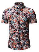 זול חולצות לגברים-פרחוני צווארון קלאסי בוהו / סגנון רחוב חולצה - בגדי ריקוד גברים דפוס פול XL