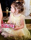 billige Babykjoler-Baby Jente Grunnleggende / Gatemote Ensfarget / Galakse Paljetter / Netting Kortermet Ovenfor knéet Bomull Kjole Gul
