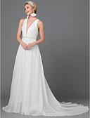 povoljno Vjenčanice-A-kroj Ovalni izrez Jako kratki šlep Satenski šifon Izrađene su mjere za vjenčanja s Drapirano padajuće po LAN TING BRIDE®