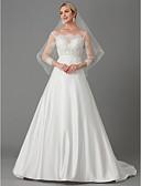 povoljno Vjenčanice-A-kroj Lađa izrez Srednji šlep Čipka / Saten Izrađene su mjere za vjenčanja s Aplikacije po LAN TING BRIDE® / Iluzija