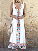 cheap Women's Dresses-2019 New Arrival Sundresses Women's Casual / Daily Beach Sexy Boho Maxi Slim A Line Tunic Sundress Elbise Vestidos Robe Femme V Neck Red Yellow Light Blue XXXL XXXXL XXXXXL