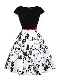 economico Vestiti vintage-Per donna Vintage Elegante Swing Vestito Fantasia floreale Al ginocchio