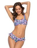 halpa Bikinis-Naisten Perus Sateenkaari Niskalenkki Pikkutuhmat Bikini Uima-asut - Kukka Geometrinen Peplum Röyhelö Painettu M L XL Sateenkaari