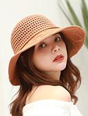 preiswerte Damenhüte-Damen Aktiv Grundlegend nette Art,Polyester Strohhut Sonnenhut Solide Blumen Ganzjährig Marineblau Grau Khaki