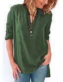 preiswerte Bluse-Damen Solide Bluse, V-Ausschnitt Fuchsia XXXL