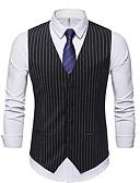 お買い得  メンズブレザー&スーツ-男性用 ベスト Vネック ポリエステル ブラック / ネイビーブルー / グレー XL / XXL / XXXL