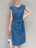 cheap Vintage Dresses-Women's Elegant Sheath Dress - Solid Colored Bow Pink Beige Royal Blue XL XXL XXXL