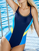 cheap One-piece swimsuits-Women's Sporty Basic Blue Black Triangle Cheeky One-piece Swimwear - Color Block S M L Blue