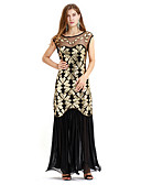 cheap Historical & Vintage Costumes-The Great Gatsby Retro / Vintage 1920s The Great Gatsby Wasp-Waisted Costume Women's Dress Black / Golden Vintage Cosplay Sequin Party Sleeveless Sleeveless Round Neck Ankle Length