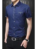 abordables Camisetas y Tops de Hombre-Hombre Tallas Grandes Algodón Camisa, Cuello Inglés Un Color Wine XXXL