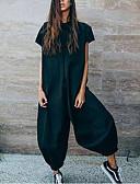 hesapli Kadın Tulumları-Kadın's Beyaz Siyah Harem Tulumlar, Solid L XL XXL