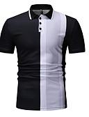 halpa Miesten poolopaidat-Miesten Paitapuserokaula-aukko Color Block Polo Musta XL