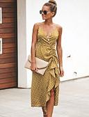 cheap Dresses For Date-Polka Dot Wrap Dresses Women's Elegant Sheath Wrap Dress - Ruffle Strap Brown Black Red L XL XX
