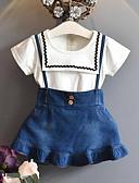 billige Pigekjoler-Børn Pige Aktiv / Gade Patchwork Drapering / Patchwork Kortærmet Normal Rayon Tøjsæt Blå