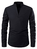 cheap Men's Shirts-Men's Daily Daily Wear Business Cotton Slim Shirt - Solid Colored V Neck / Standing Collar Black L / Long Sleeve