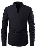 billige Herreskjorter-V-hals / Stående krave Tynd Herre - Ensfarvet Bomuld Forretning Skjorte Sort L / Langærmet