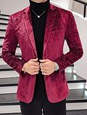 hesapli Erkek Blazerları ve Takım Elbiseleri-Erkek Büyük Bedenler Blazer Çentik Yaka Polyester YAKUT XL / XXL / XXXL / İnce