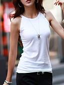abordables Camisetas para Mujer-Mujer Camiseta, Halter Delgado Un Color Blanco M