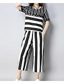 hesapli İki Parça Kadın Takımları-Kadın's Temel Set Çizgili Pantolon