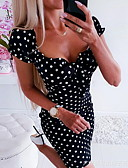 cheap Dresses For Date-Women's Bodycon Dress V Neck Black Red S M L XL