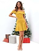 cheap Evening Dresses-Women's Sheath Dress - Solid Colored Red Yellow Wine M L XL