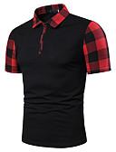 """זול חולצות פולו לגברים-קולור בלוק צווארון חולצה האיחוד האירופי / ארה""""ב גודל Polo - בגדי ריקוד גברים טלאים שחור"""