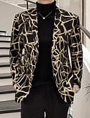 お買い得  メンズブレザー&スーツ-男性用 ブレザー ノッチドラペル ポリエステル ブラック XXXL / XXXXL / XXXXXL