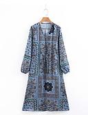 abordables Robes-Femme Midi Courte Robe - Imprimé, Géométrique Marine S M L Manches Longues