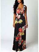 baratos Bikinis-Mulheres Moda de Rua Elegante Reto Vestido - Estampado, Floral Decote em V Profundo Longo