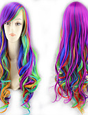 cheap One-piece swimsuits-Synthetic Wig Curly Style Middle Part Capless Wig Ombre Rainbow Synthetic Hair 22 inch Women's Party Ombre Wig Long Natural Wigs