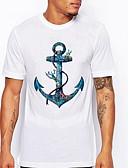 billige T-shirts og undertrøjer til herrer-Rund hals Tynd Herre - Grafisk Plusstørrelser T-shirt Hvid XXL