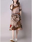 abordables Vestidos de Mujer-Mujer Tejido Oriental Línea A Vestido - Estampado, Geométrico Hasta la Rodilla