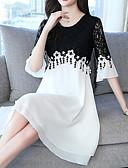 hesapli Romantik Dantel-Kadın's Temel A Şekilli Elbise - Zıt Renkli Diz üstü