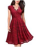 זול תחרה רומטנית-מידי תחרה, אחיד - שמלה גזרת A בסיסי אלגנטית בגדי ריקוד נשים