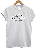 hesapli Tişört-Kadın's Pamuklu Tişört Desen, Hayvan Siyah