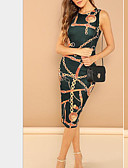 cheap Print Dresses-Women's Shirt Dress Green Black Red L XL XXL