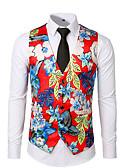 ราคาถูก เบลเซอร์ &สูทผู้ชาย-สำหรับผู้ชาย เสื้อกั๊ก, ลายดอกไม้ คอวี เส้นใยสังเคราะห์ ใบไม้สีเขียวที่มีสามแฉก / ขาว / ทับทิม L / XL / XXL