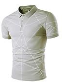 levne Pánské košile-Pánské - Jednobarevné Tričko Košilový límec Štíhlý Bílá L