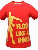 billige Topper til gutter-Barn Gutt Grunnleggende Geometrisk Kortermet Polyester T-skjorte Svart