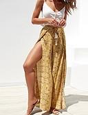 זול סרבלים ואוברולים לנשים-בגדי ריקוד נשים סגנון רחוב משוחרר רגל רחבה מכנסיים - דפוס מפוצל צהוב S M L