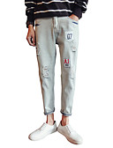 levne Pánské kalhoty a kraťasy-Pánské Základní Kalhoty chinos Kalhoty - Jednobarevné Nízký pas Bavlna Světle modrá 33 34 36