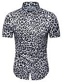 voordelige Herenoverhemden-Heren Print Overhemd Luipaard Wit XL