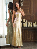 cheap Bridesmaid Dresses-Sheath / Column Jewel Neck Ankle Length Sequined Bridesmaid Dress with Sequin by LAN TING Express