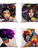 halpa Digitaalikellot-joukko 4 afrikkalaistyylistä pellava neliön koristeellinen heittää tyynyliinat sohva tyyny kattaa 18x18