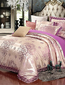 cheap Women-Duvet Cover Sets Solid Colored / Luxury Polyster Jacquard 4 PieceBedding Sets